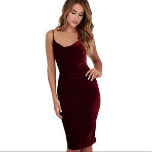 NWT crushed velvet midi dress