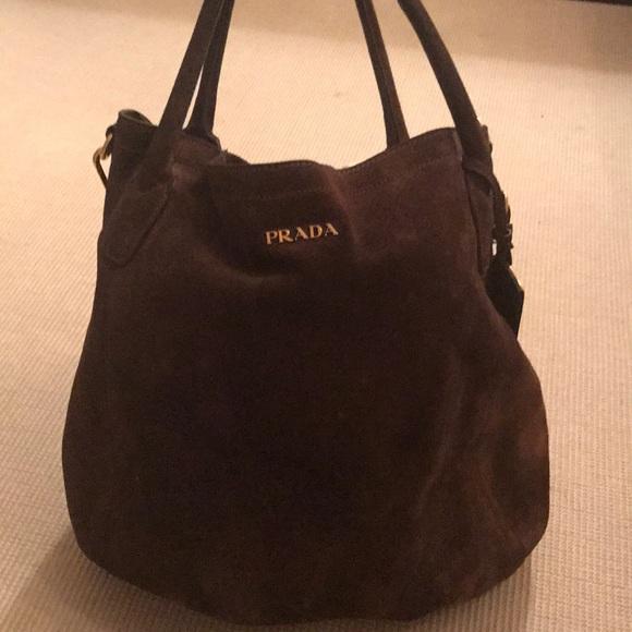 b31f64a7994a Prada dark brown suede bucket bag. M_59b5fa7e5a49d026d4077044