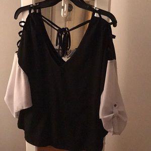 White & Black Block Blouse