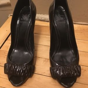 Burberry patent leather ruffle peep-toes