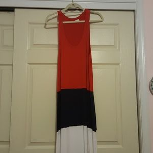 Red, white and navy blue maxi dress