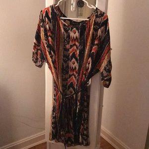 Fashion2Figure Aztec Slit Sleeves Shirt Dress