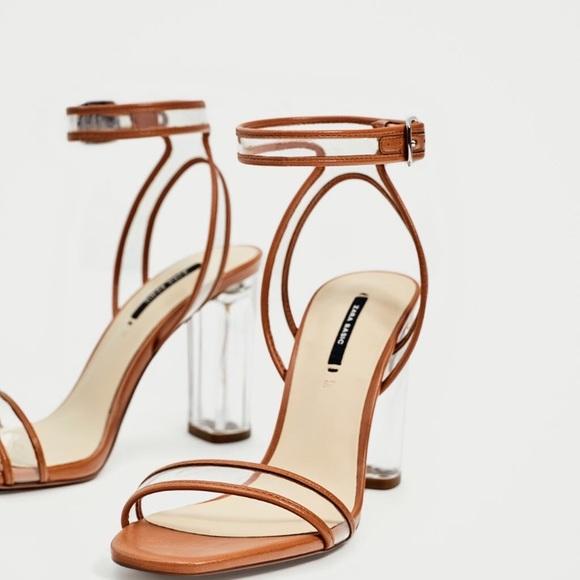 d8b5c44ee7d Zara Vinyl High Heel Sandals. M 59b5ff2036d59408e407683a