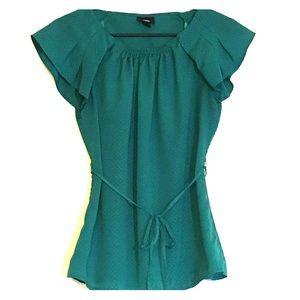 Green Polka Dot Tie Blouse