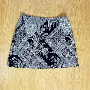 Trina Turk Black and White Paisley Mini Skirt
