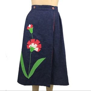 Vintage skirt flower appliqué denim the frog pond