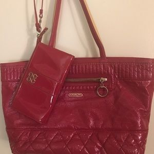 Coach Magenta Shoulder Tote with Coach Wristlet.