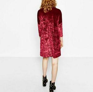 4bc11da0 Zara Dresses | Burgundy Red Crushed Velvet Dress | Poshmark