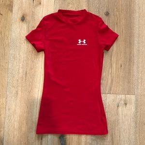 Under Armour Red Fitted Wicking Tee