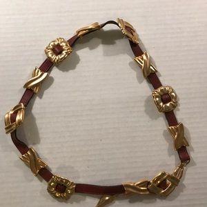 BRIGHTON 46207 Brushed Brown/gold Chain Belt Sz M