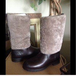 NWT Frye Natalie tall shearling cuff leather boot