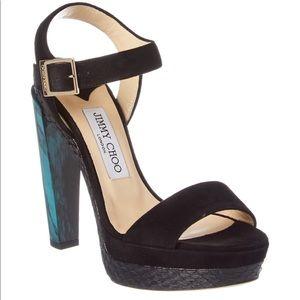 Jimmy Choo Dora 130 Suede & Elaphe Marble Sandal