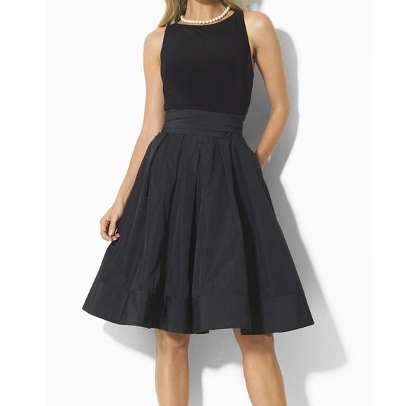Lauren Ralph Lauren Dress 12 Yuko Jersey Taffeta