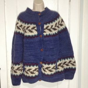Handmade Heavy Wool Cardigan Wood Buttons L or XL