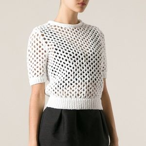 Alexander Wang White Short Sleeve Knit Sweater