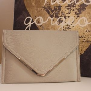 BCBGeneration Envelope Leather Clutch in Stone