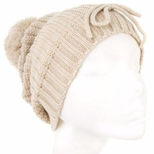 Accessories - ***NEW***Pom Pom Knit Bow Accent Beanie