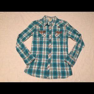 Ariat Women's Blue Plaid Pearl Snap Western  Shirt