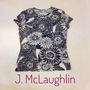 J McLaughlin short sleeve floral blouse sz L