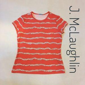 J McLaughlin short sleeve pearl print top - sz M