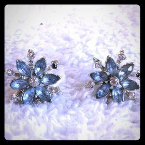Blue vintage floral earrings