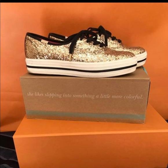 b958ad5db0f0 kate spade Shoes - Kate Spade Triple KS Glitter Gold