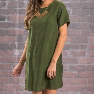 Dresses & Skirts - Olivia olive Suede Shift Dress