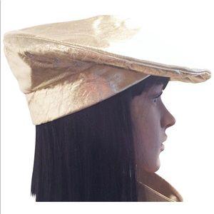 Frank Olive metallic leather beret style hat