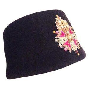 Vintage black felt rhinestone sequin hat