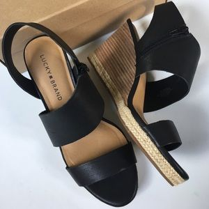 NIB Lucky Brand leather wedges