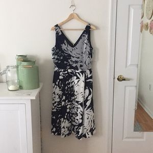 Navy and white garden party dress