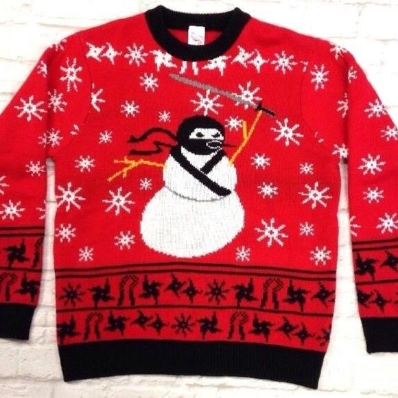 snowman ninja ugly christmas sweater ski snowflake