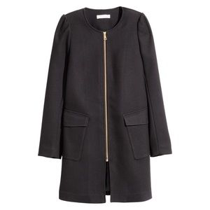 H&M Black Textured Weave Zip Up Straight Cut Coat