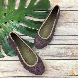 Emu light purple suede perforated ballet flats
