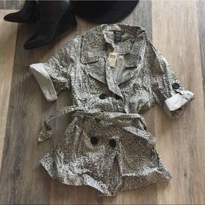 NWT Wet Seal Leopard Print Belted Trench Coat