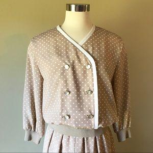 Vintage Tan & White Polka Dot Midi Skirt & Blouse