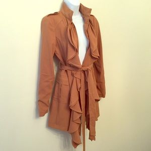 NWT Gorgeous Camel Open Ruffle Trench Coat