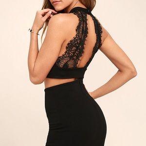 Lulu's Chic My Interest Black Lace Two-Piece Dress