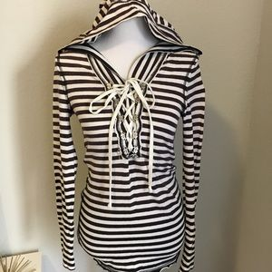 Free People Striped Lace up Hoodie