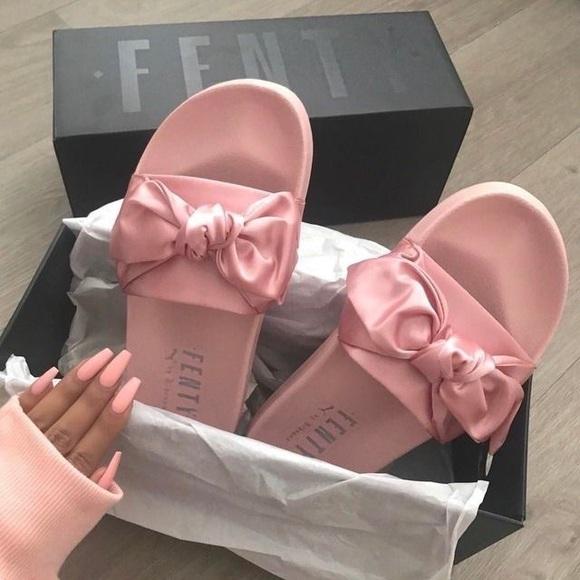 huge discount 944a1 01ee7 FENTY Bow Slides Pink