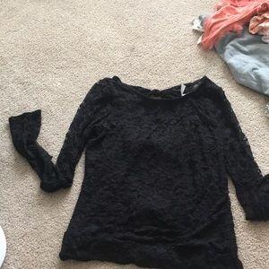 Black lace bow back long sleeve!