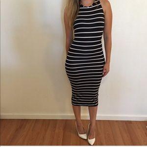 Black & White Striped Sleeveless Midi Dress