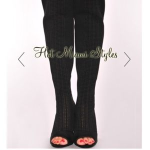 Hot Miami Styles Shoes - sale! Black bandage thighhigh peeptoe boots