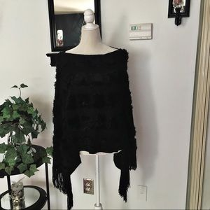 Black Draping Pullover Poncho Cape