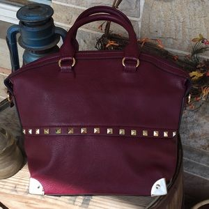Handbags - Maroon handbag with gold accents
