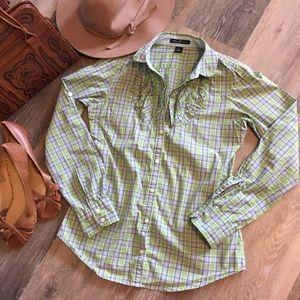 GAP Plaid Ruffle Long Sleeve Oxford Shirt