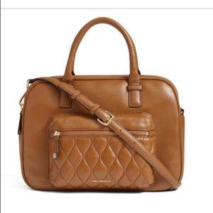 NWOT Vera Bradley Tan Leather Satchel Zipper Bag