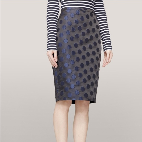 26dfc1f20 J. Crew Dresses & Skirts - J. Crew pencil skirt black with navy polka
