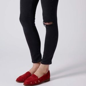 Red Suede Loafer Flats