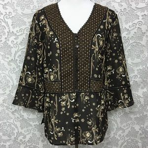 Emma James Brown Floral Tunic Blouse 16W